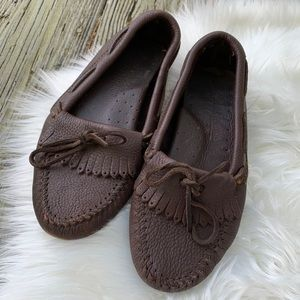 Minnetonka Pebbled Leather Driving Moccasins Sz 7
